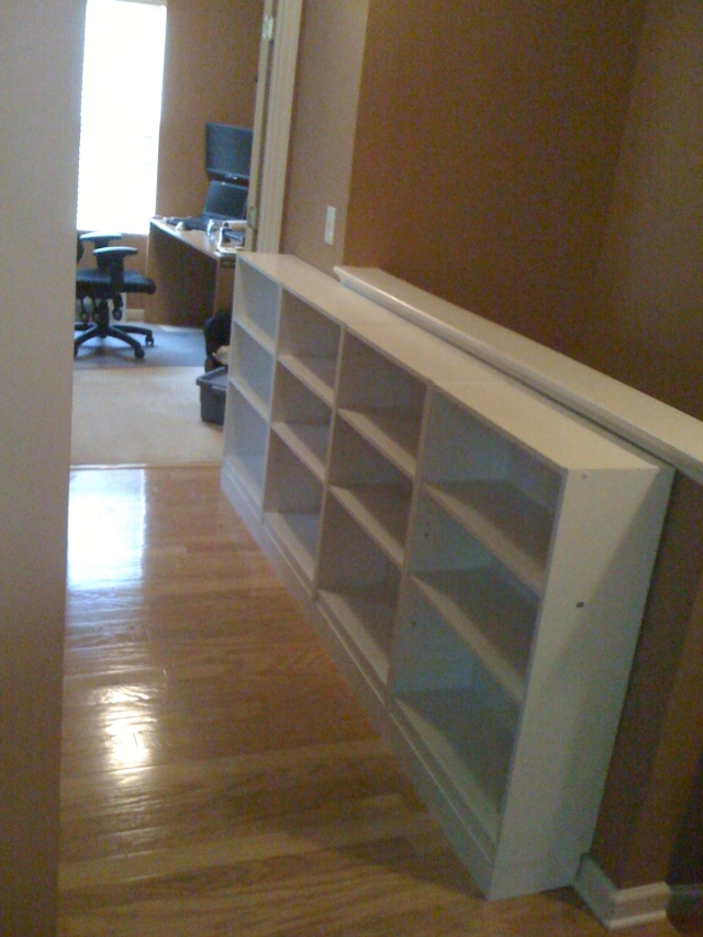 Picture of hallway bookcases facing office